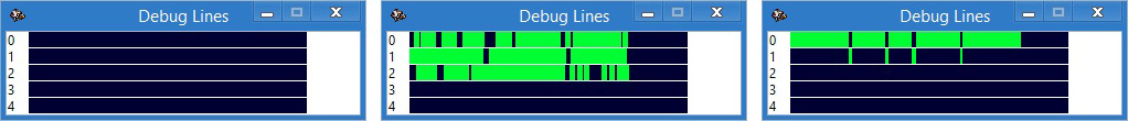 Debug lines windows. Shows the level of coincidence