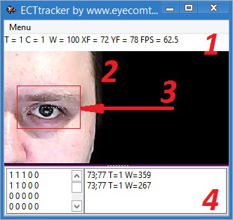 ECTtracker debug window elements