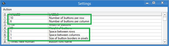Changing amount of buttons per row and column and space size between buttons