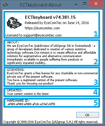 An updated About window of the ECTkeyboard program