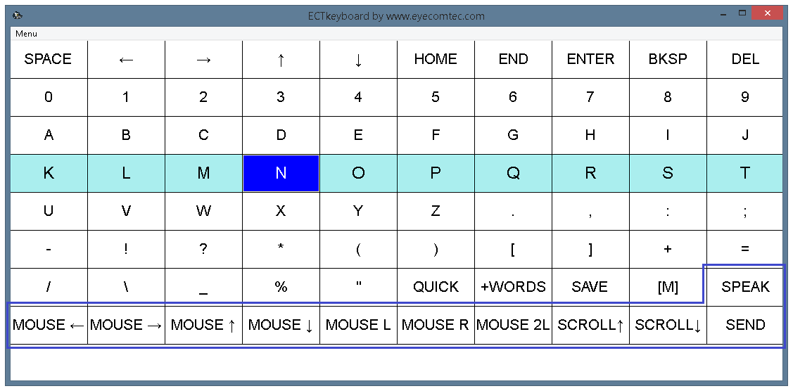 Keys to control mouse cursor and pronounce typed text