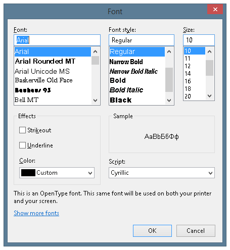 Font selection dialog window