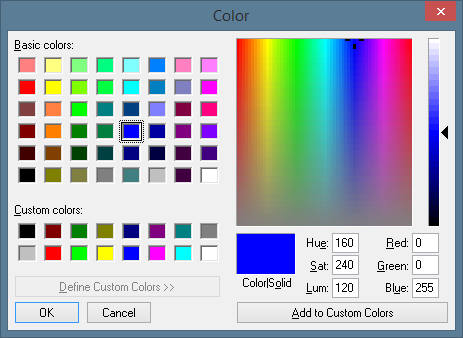 The color selection dialog window