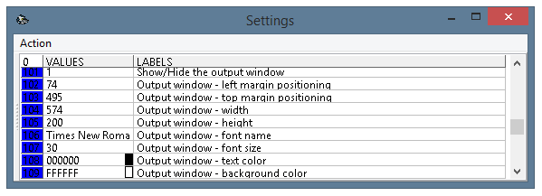 The settings window of the program, parameters 101-109