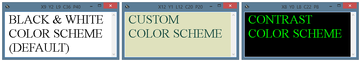 Various color schemes of the text output form