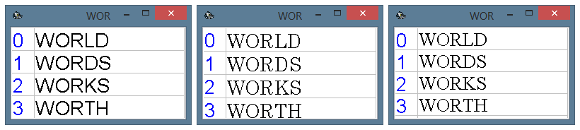 Various fonts in the quick selection window. From left to right: Arial, Century, Times New Roman