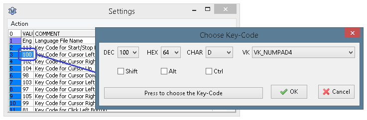 Selecting keys for various mouse actions