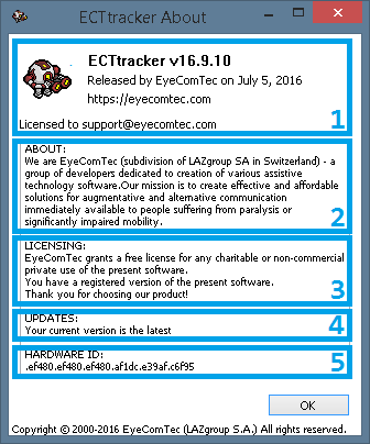 An updated About window of the ECTtracker program
