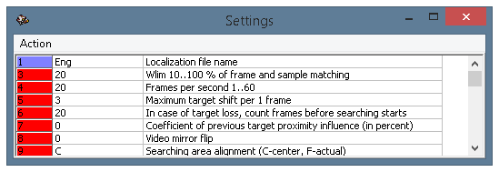 The settings window, parameters 1-9