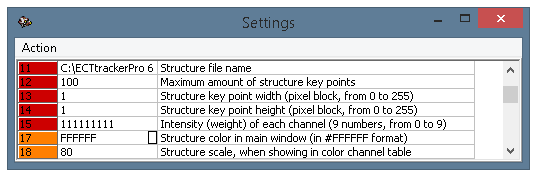 The settings window, parameters 11-18