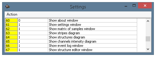 The settings window, parameters 60-67